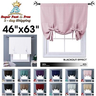 THERMAL DRAPES AND Curtains Tie Up Shades Short Blackout ...