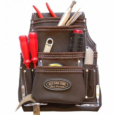 Astra Cutting Edge 10 Pocket Nail & Tool Pouch Brown Oil Tan Leather