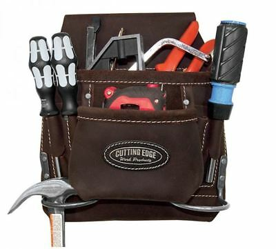 Astra Cutting Edge 8 Pocket Nail & Tool Pouch Brown Oil Tan Leather