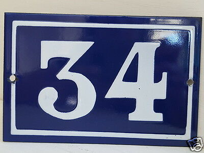 OLD FRENCH HOUSE NUMBER SIGN door gate PLATE PLAQUE Enamel steel metal 34 Blue