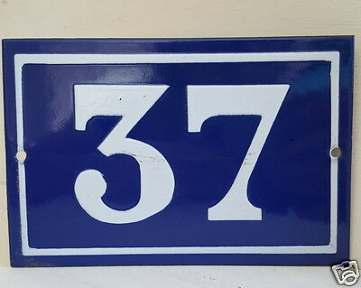 OLD FRENCH HOUSE NUMBER SIGN door gate PLATE PLAQUE Enamel steel metal 37 Blue