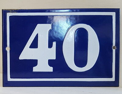 OLD FRENCH HOUSE NUMBER SIGN door gate PLATE PLAQUE Enamel steel metal 40 Blue