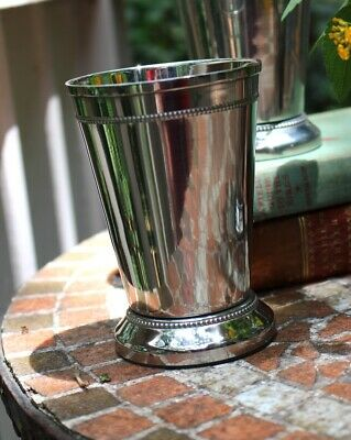 4.75 Inch Tall Silver Mint Julep Cup with Heavy Beaded Edge and Felt Bottom