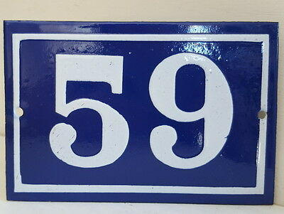 OLD FRENCH HOUSE NUMBER SIGN door gate PLATE PLAQUE Enamel steel metal 59 Blue