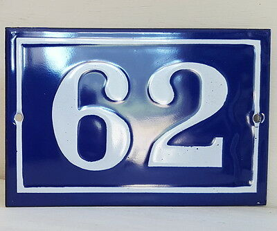 OLD FRENCH HOUSE NUMBER SIGN door gate PLATE PLAQUE Enamel steel metal 62 Blue