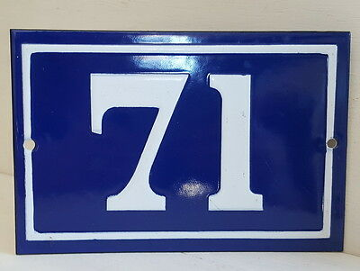 OLD FRENCH HOUSE NUMBER SIGN door gate PLATE PLAQUE Enamel steel metal 71 Blue