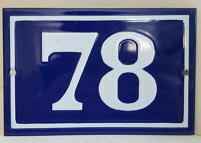 OLD FRENCH HOUSE NUMBER SIGN door gate PLATE PLAQUE Enamel steel metal 78 Blue