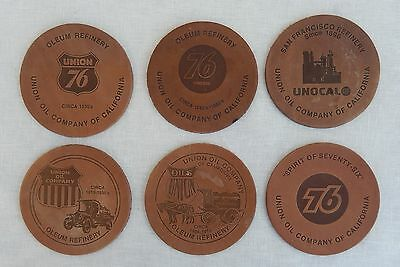 6 Vintage Union Oil Co. 76 Leather Coasters