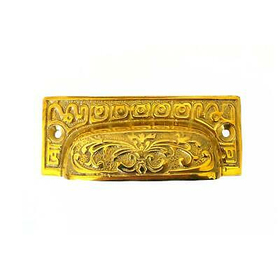 Old fashioned Solid Brass BIN PULL Victorian Rectangle Antique Style