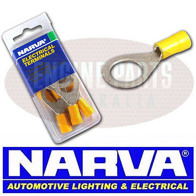 NARVA CRIMP TERMINALS RING EYELET INSULATED YELLOW 5-6mm WIRE 8.4mm HOLE QTY 10