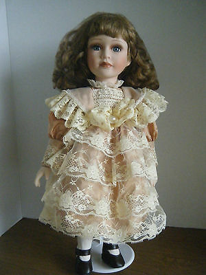 "Leonardo Collection Victorian Porcelain Doll - 17"" Loads of Lace! Pretty!"