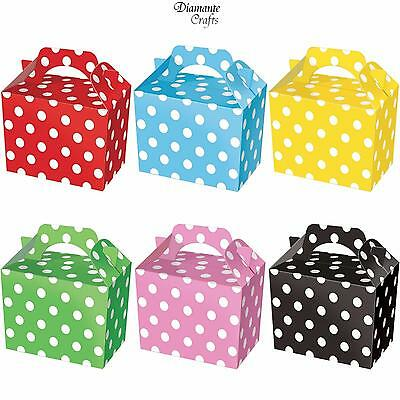 10 Party Boxes Polka Dot - Cardboard Lunch Food Loot Spot Treat Box - 6 Colours