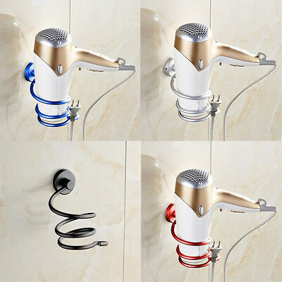 Wall Hair Dryer Holder Rack Space Aluminum Bathroom Wall Holder Shelf Storage