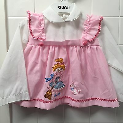 Girls Size 0-1 Vintage White & Pink Top Dress Girl Cat Pinafore EUC