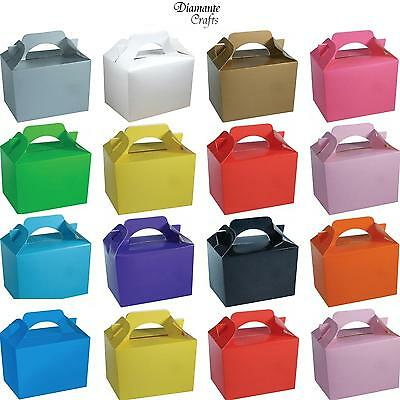 10 Party Boxes Solid Colour Plain Cardboard Lunch Food Loot Treat Box 13 Colours
