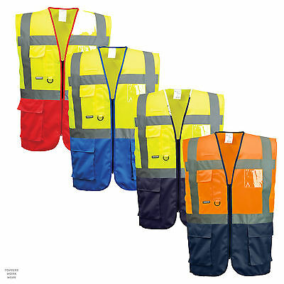 Portwest Warsaw Executive Hi Vis Vest With Multi Pockets And ID Holder C476