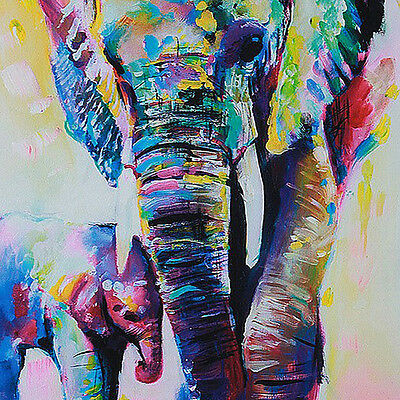 New Modern Abstract Canvas Art Oil Painting Print Happy Elephant(Not Framed)