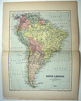 Original 1894 Map of South America by W & A.K. Johnston
