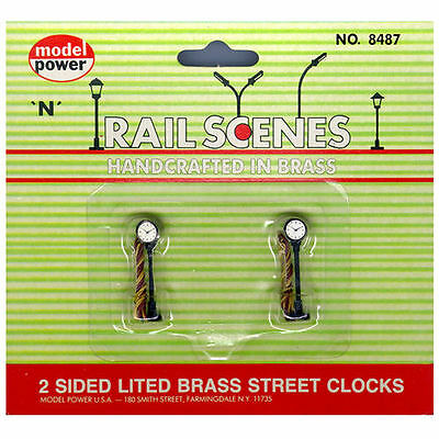 Model Power N Scale Pack Of Two Illuminated Street Clocks Brass Ref 8487