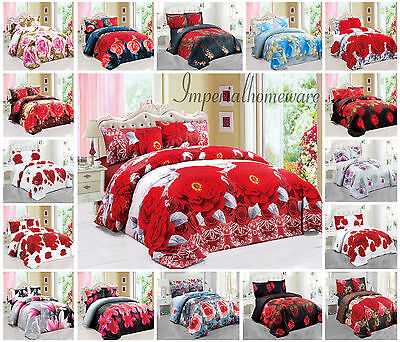 3D Duvet Quilt Cover Luxury Bedding Set with FITTED SHEET Pillow Cases 3D Floral