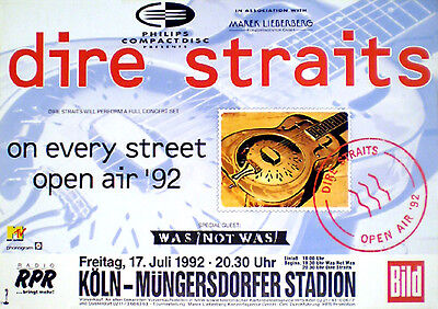DIRE STRAITS rare concert poster from 1992