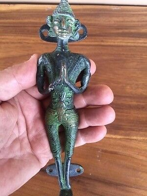 Pagan Primitive Naga Man Door Handle Statue Sculpture Fetish Bronze Creepy