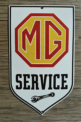 Superb heavy quality porcelain advertising sign MG service garage plaque