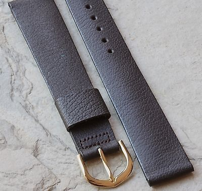 Long Length matte brown Genuine Saddle Leather 19mm vintage watch band 1950s/60s