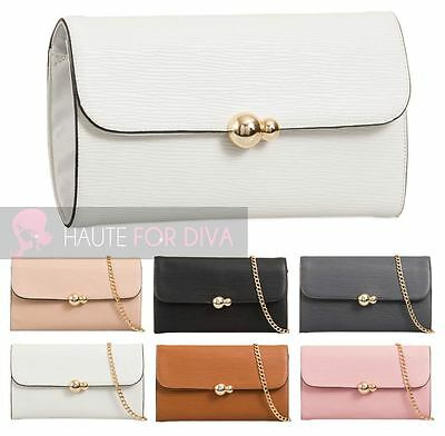 New Textured Faux Leather Gold Detail Chain Strap Ladies Evening Clutch Bag