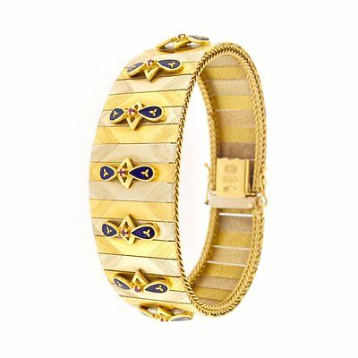 Bracelet with Aztec Motif & Blue Stones 18kt Yellow & White Gold