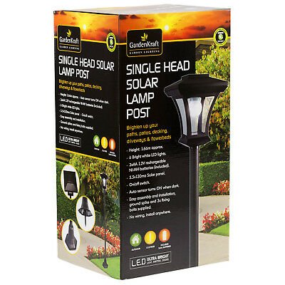 1.66m Solar Powered LED Lamp Post Single Head Lantern Garden Patio Outdoor Light