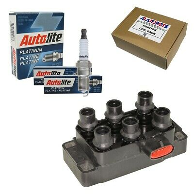 Set of 6 Bosch Spark Plugs + 1 High Performance Ignition Coil for Ford Mazda