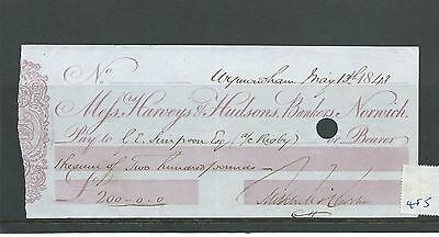 wbc. - CHEQUE - CH485- USED -1843- HARVEYS & HUDSONS, BANKERS, NORWICH