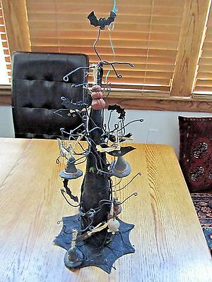 "Halloween Witch's Hat Metal Tree W/halloween Ornaments-18 1/2"" High!  #07"