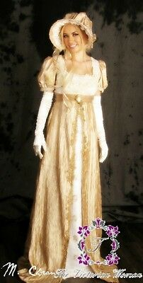 NEW Ivory Gold Regency Evening Gown Jane Austen Style Costume Cosplay Dress Ball