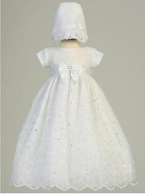 Baby Girls Embroidered Organza White Dress Gown 3-6 M Christening Baptism Bonnet