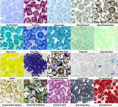 100 pcs GENUINE SWAROVSKI 5301 Crystal Bicone Beads 4mm #4  LONDON SELLER