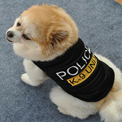 Cute Dog Cat Vest Police Puppy T-Shirt Coat Pet Clothes Summer Apparel Costumes