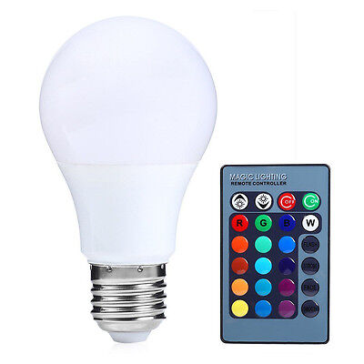E27 15W Dimmable RGB LED light Color Changing Bulb with Remote Control 85-265V A