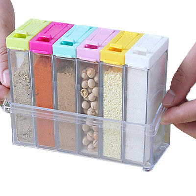 6xAcrylic Spice Container Jar Condiment Dispenser Salt Seasoning Box For Kitchen