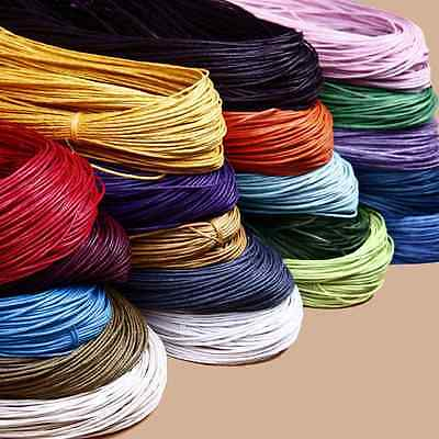 1mm Cotton Waxed Cord Beading Rattail Braided DIY String Thread Jewellery Making