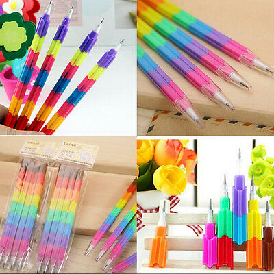 4 Pcs Building Blocks Pencil Creative Stacker Swap Pencils For Children RMAU