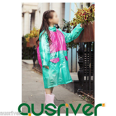 New 6Colours Thick Children Kids Long Rain Coat Raincoat Backpack Cover Outdoor