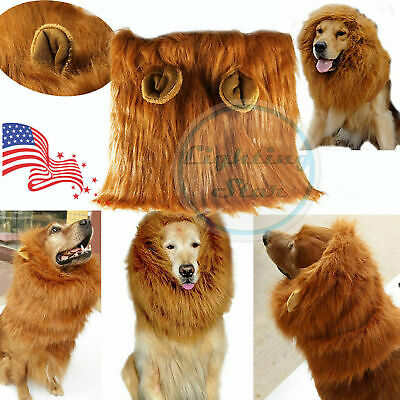 Pet Costume Brown Lion Mane Wig Dog Christmas Clothes Fancy Dress up with Ears