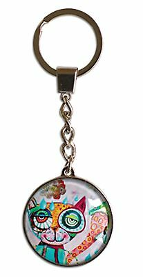 Cat Glass Metal Key Ring Allen Designs -Quirky-Design Cello Wrapped