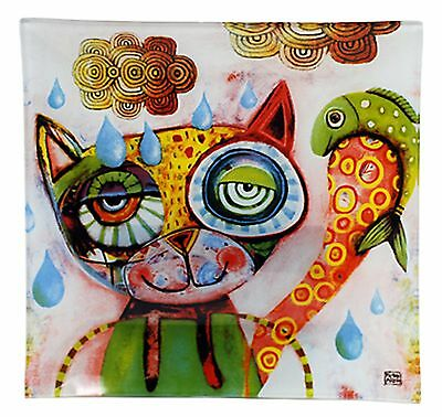 Cat Glass Decorative Plate- Allen Designs -Quirky-Design Boxed Approx 20cmx20cm