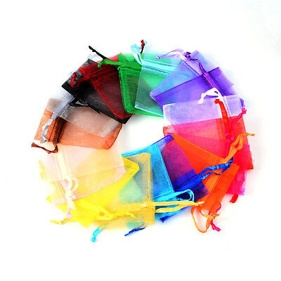 100Pcs Organza Sheer Wedding Party Favour Party Gift Bag Candy Jewelry Pouch Bag