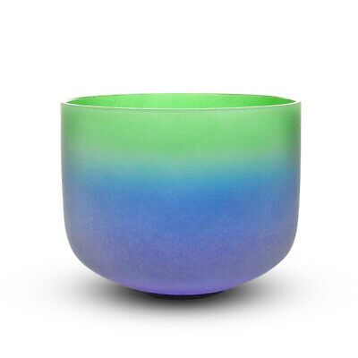 """Rainbow Colored Frosted F Heart Chakra Quartz Crystal Singing Bowl 8"""""""