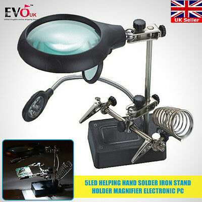 5LED Helping Hand Solder Iron Stand Holder Magnifier Electronic PC Repair 90mm