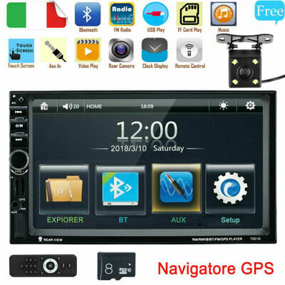 "6.95"" 2 DIN HD Auto Android Bluetooth Stereo Radio GPS DVD AUX USB MP3 Lettore"